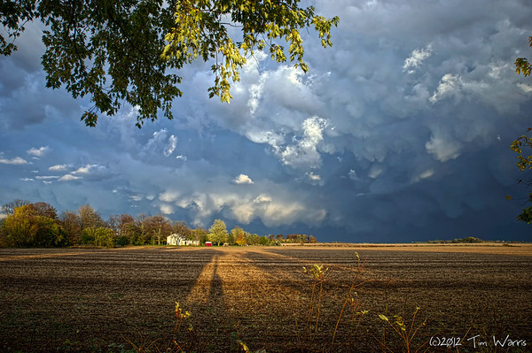 This was one of those brief cloud formations that mixed with the sun setting over my shoulder made for a dramatic early fall shot..  Taken back in 2009 in Burford, Ontario.